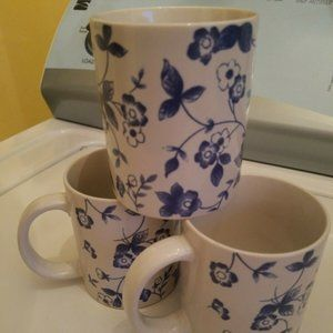 Vintage Blue Floral Print Chintz Coffee Mugs